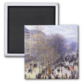 Boulevard des Capucines by Claude Monet, Fine Art Square Magnet
