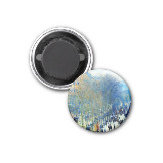 Boulevard des Capucines Claude Monet fine art 3 Cm Round Magnet