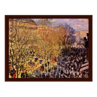 Boulevard Des Capucines In Paris By Claude Monet Postcard