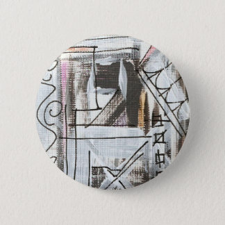 Boulevard-Hand Painted Abstract Brushstrokes 6 Cm Round Badge