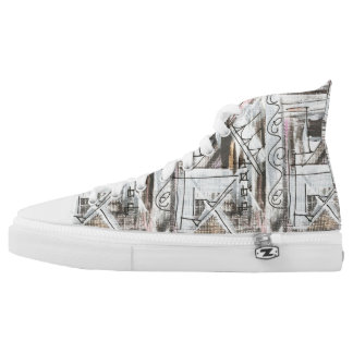 Boulevard-Hand Painted Abstract Brushstrokes High Tops