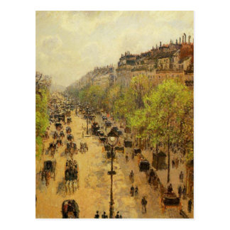 Boulevard Montmartre Spring by Camille Pissarro Postcard