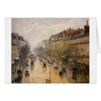 Boulevard Montmartre Spring Rain Camille Pissarro Card