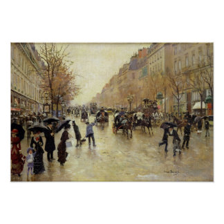 Boulevard Poissonniere in the Rain, c.1885 Poster