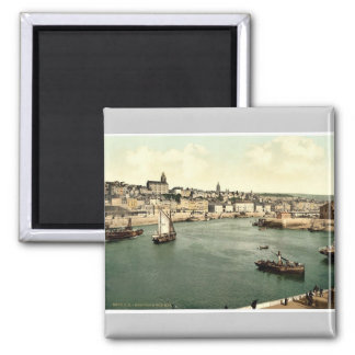 Boulogne, from west pier, France rare Photochrom Square Magnet