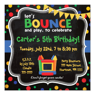 Bounce House and Inflatables Birthday Invitation