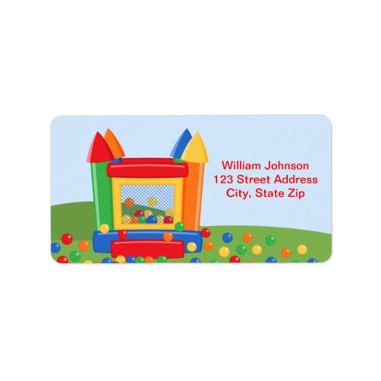 Bounce House Birthday Address Label