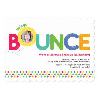Bounce House Birthday Invitation Photo Card Multi