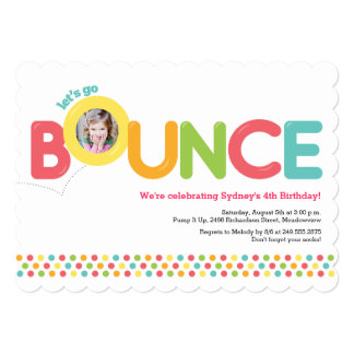 Bounce House Birthday Invitation Photo Card Pink