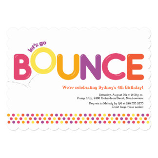 Bounce House Birthday Invitation Pink & Orange