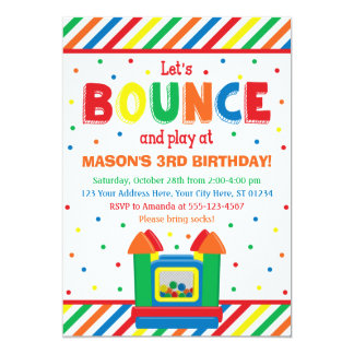 Bounce House Birthday Invitation with Envelopes