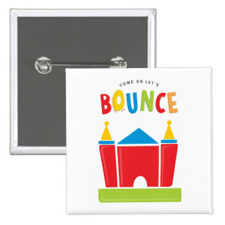 Bounce House Birthday Party Favor 15 Cm Square Badge