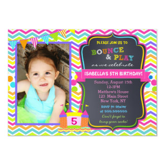 Bounce House Birthday Party Invitations Girl