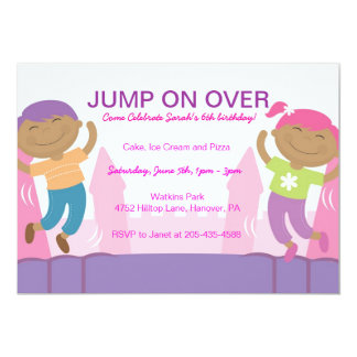 Bounce House Girl's Birthday Party Invitations