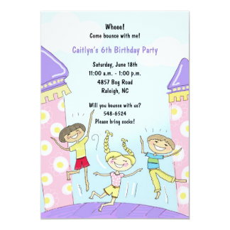 Bounce House Party Invitations: Pink Card