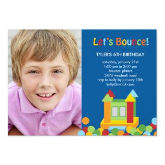 Bounce House Photo Birthday Invitation - Blue