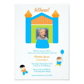 Bounce House Photo Boys Birthday Invitation