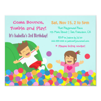 Bounce Play Gym Kids Birthday Party Invitations