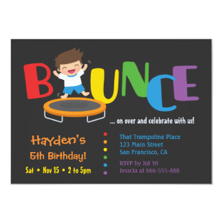 Bounce Trampoline Boys Birthday Party Invitations