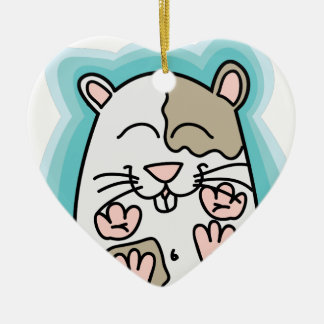 Bouncing Hamster Ceramic Heart Decoration
