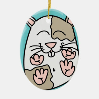 Bouncing Hamster Ceramic Oval Decoration