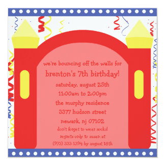 Bouncing of the Walls Bounce House Birthday Party Card