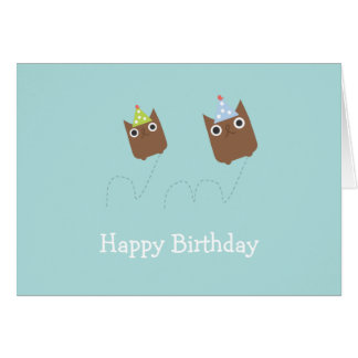 Bouncing Owls Birthday Card