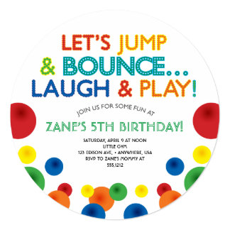 Bouncy Ball Birthday Circle Invitation