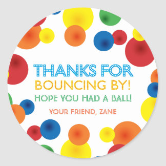 Bouncy Ball Birthday Round Favor Stickers