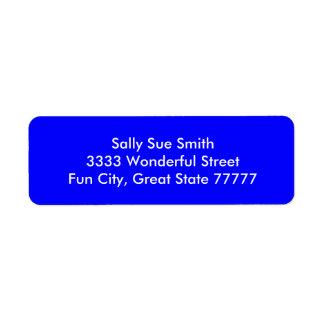 Bouncy Bright Blue Color Return Address Label