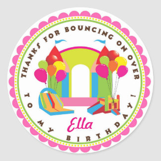 Bouncy House Girl Birthday Party Stickers