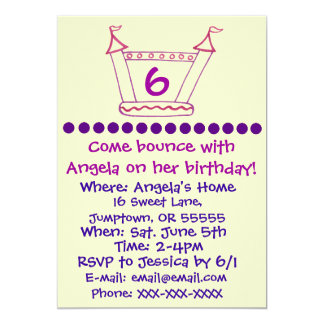 Bouncy House Girls Party Invitation