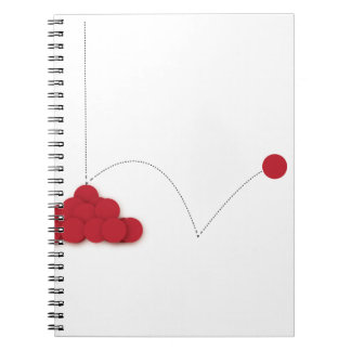 Bouncy red dot notebook