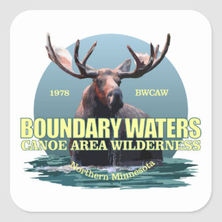 Boundary Waters CAW (Moose) WT Square Sticker