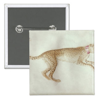 Bounding cheetah with a red collar 15 cm square badge