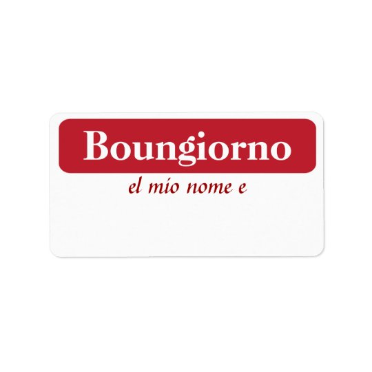 Boungiorno My Name Is...Tags Label
