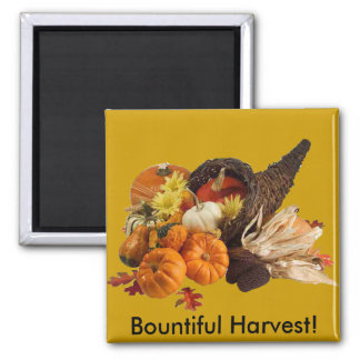 Bountiful Harvest Cornucopia Square Magnet