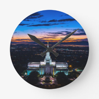 Bountiful Lds Mormon Temple Sunset Wall Clock
