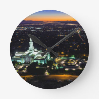 Bountiful Lds Mormon Temple Sunset Wallclocks