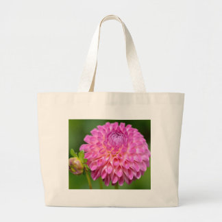 Bountiful Pink Dahlia and Bud Poster Large Tote Bag