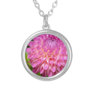Bountiful Pink Dahlia and Bud Poster Silver Plated Necklace