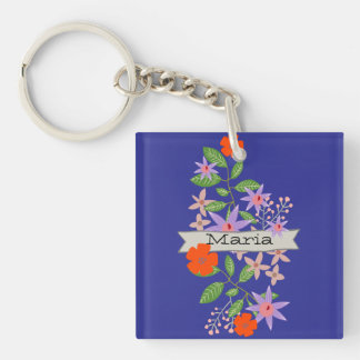 Bouquet and Banner Single-Sided Square Acrylic Key Ring