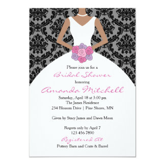 Bouquet Bride Bridal Shower Invitation │ Dark Skin