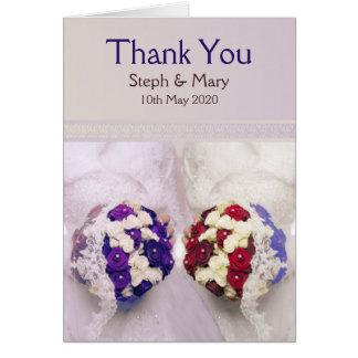 Bouquet Brides Card: Lesbian Wedding Thank You Greeting Card