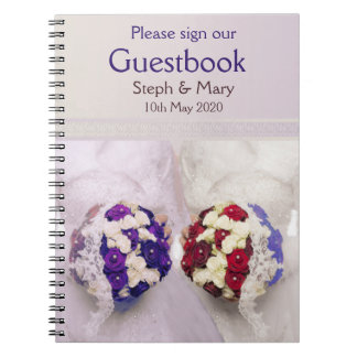 Bouquet Brides Guestbook for a Lesbian Wedding Spiral Notebooks