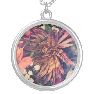 Bouquet (Cool Colors) Silver Plated Necklace