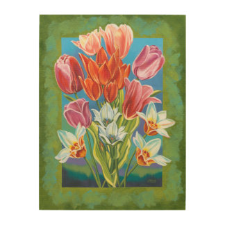 Bouquet in Border III Wood Wall Art