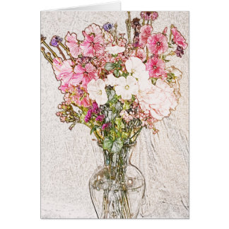 Bouquet in Clear Vase Greeting Card