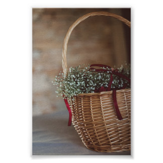 Bouquet in wicker basket poster