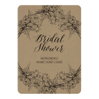 Bouquet Line Drawing Classic Bridal Invitation